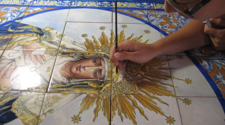 PAÑO CERÁMICO RELIGIOSO DE LA VIRGEN DEL DULCE NOMBRE SEVILLA img_1228